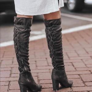 Qupid  Charcoal Over the knee boots